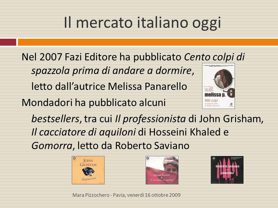 Il mercato italiano oggi Nel 2007 Fazi Editore ha pubblicato Cento colpi di spazzola prima di andare a dormire, letto dall'autrice Melissa Panarello M