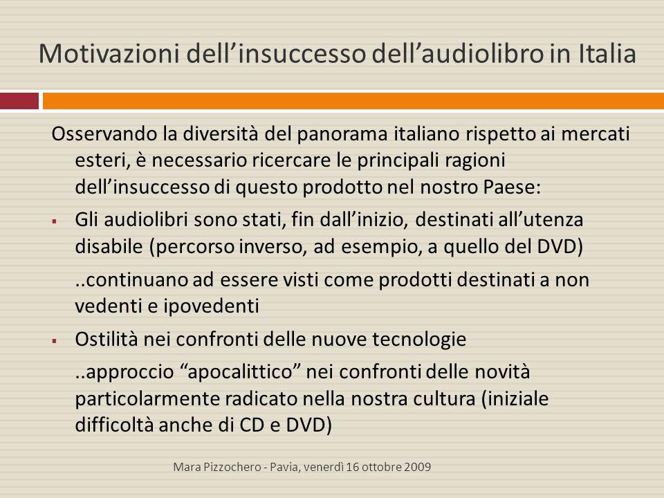 Motivazioni dell'insuccesso dell'audiolibro in Italia Osservando la diversità del panorama italiano rispetto ai mercati esteri, è necessario ricercare