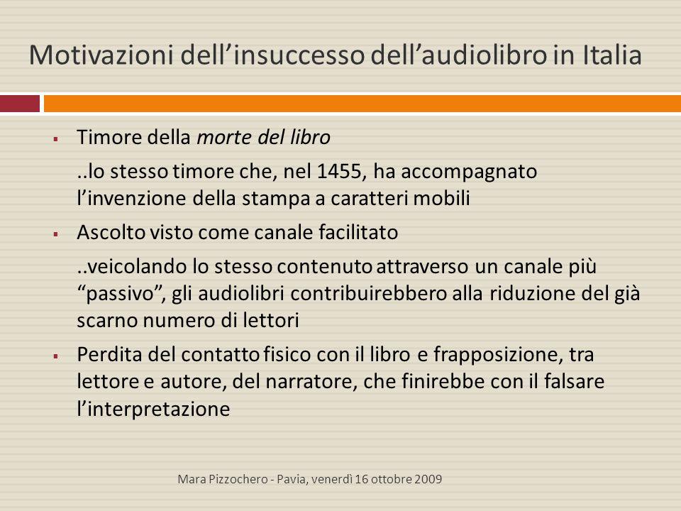 Motivazioni dell'insuccesso dell'audiolibro in Italia  Timore della morte del libro..lo stesso timore che, nel 1455, ha accompagnato l'invenzione del