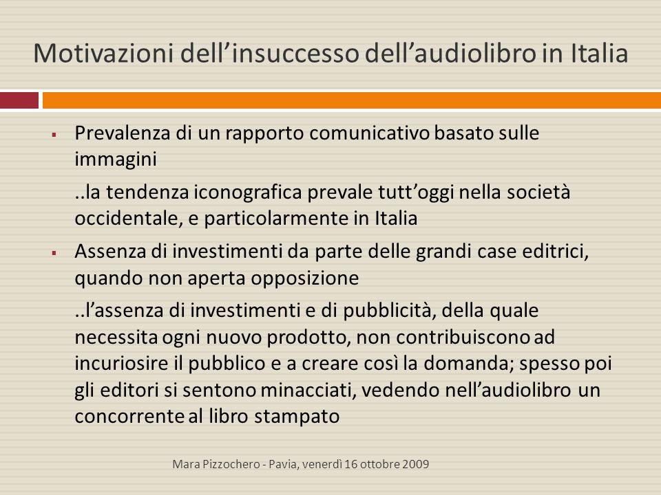 Motivazioni dell'insuccesso dell'audiolibro in Italia  Prevalenza di un rapporto comunicativo basato sulle immagini..la tendenza iconografica prevale