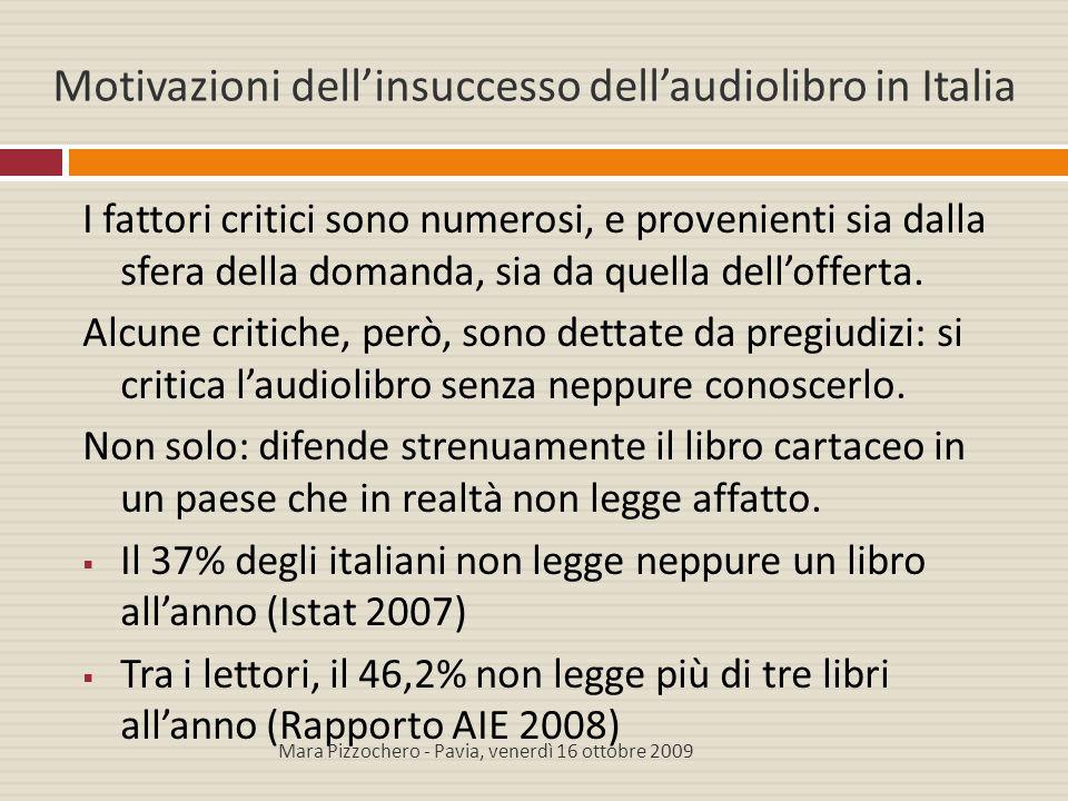 Motivazioni dell'insuccesso dell'audiolibro in Italia I fattori critici sono numerosi, e provenienti sia dalla sfera della domanda, sia da quella dell
