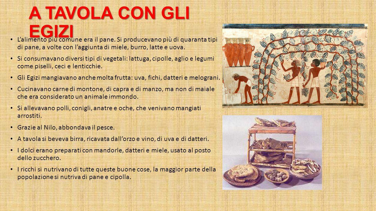 A TAVOLA CON GLI EGIZI L'alimento più comune era il pane. Si producevano più di quaranta tipi di pane, a volte con l'aggiunta di miele, burro, latte e