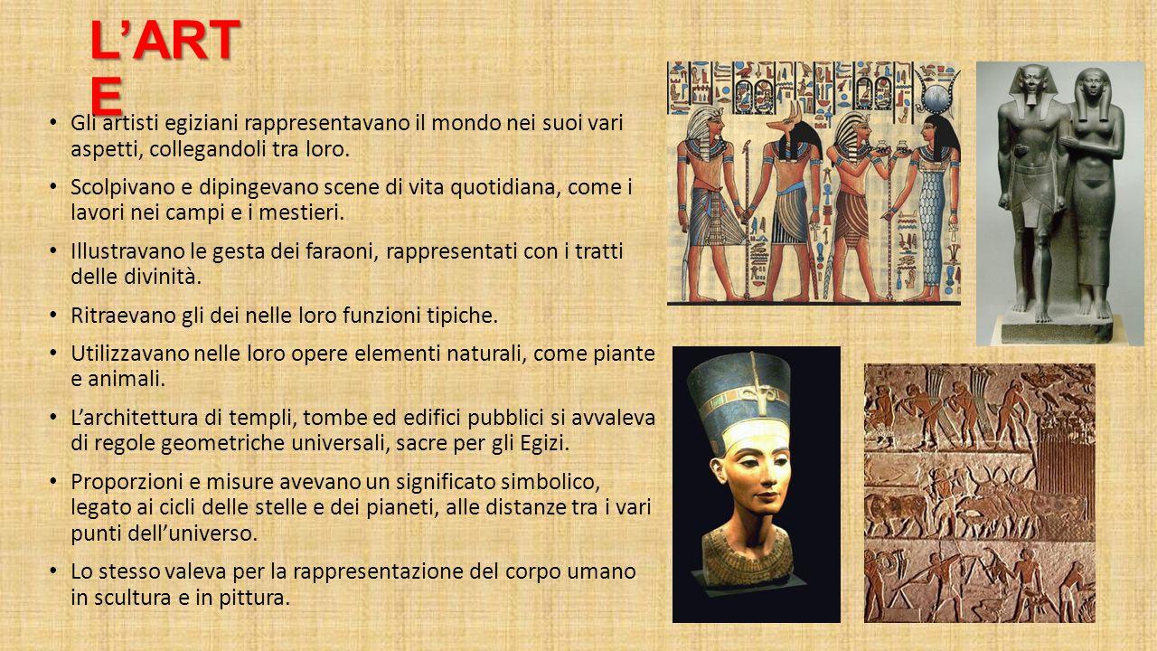 L'ART E Gli artisti egiziani rappresentavano il mondo nei suoi vari aspetti, collegandoli tra loro. Scolpivano e dipingevano scene di vita quotidiana,