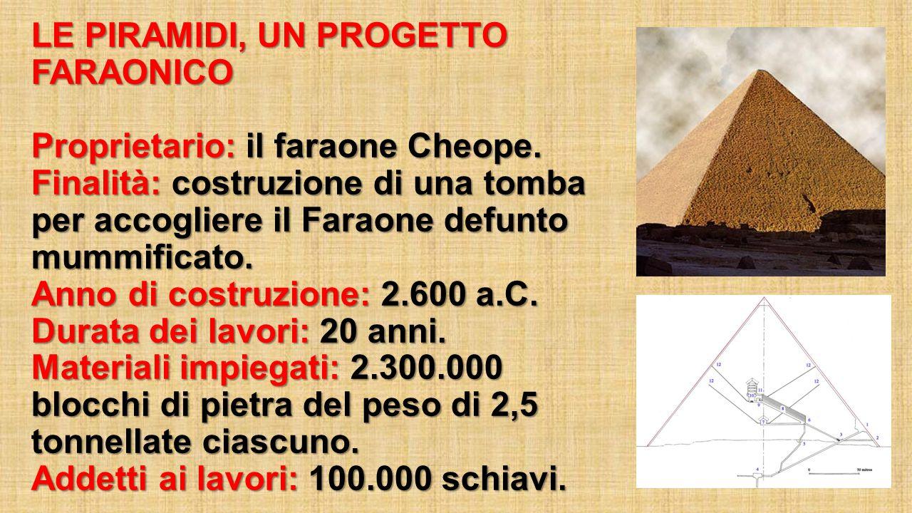 LE PIRAMIDI, UN PROGETTO FARAONICO Proprietario: il faraone Cheope. Finalità: costruzione di una tomba per accogliere il Faraone defunto mummificato.