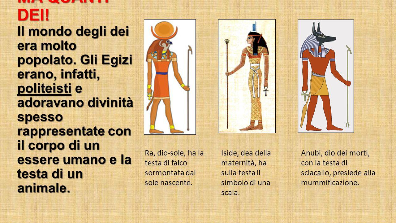 MA QUANTI DEI! Il mondo degli dei era molto popolato. Gli Egizi erano, infatti, politeisti e adoravano divinità spesso rappresentate con il corpo di u