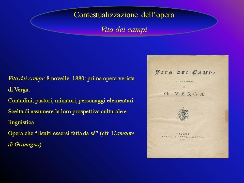 Vita dei campi: 8 novelle.1880: prima opera verista di Verga.