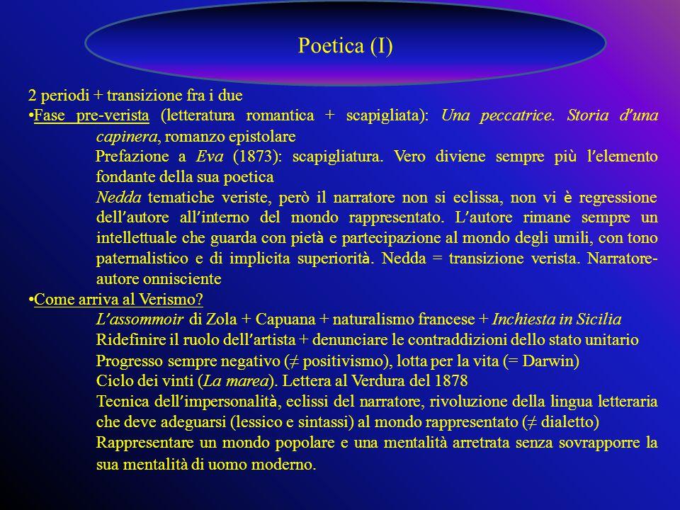 Poetica (I) 2 periodi + transizione fra i due Fase pre-verista (letteratura romantica + scapigliata): Una peccatrice.
