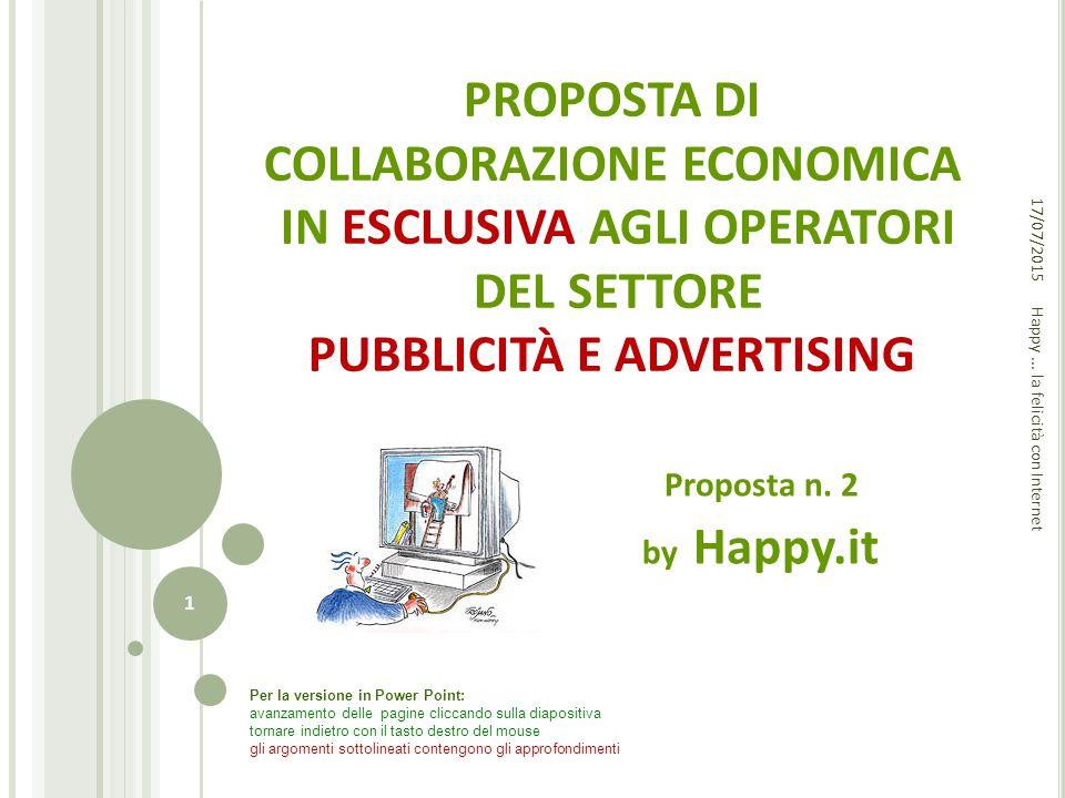 PROPOSTA DI COLLABORAZIONE ECONOMICA IN ESCLUSIVA AGLI OPERATORI DEL SETTORE PUBBLICITÀ E ADVERTISING Proposta n. 2 by Happy.it Happy... la felicità c