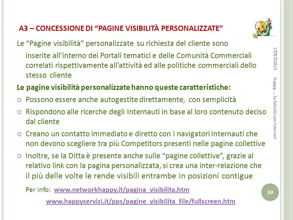 """A3 – CONCESSIONE DI """"PAGINE VISIBILITÀ PERSONALIZZATE"""" Le """"Pagine visibilità"""" personalizzate su richiesta del cliente sono inserite all'interno dei Po"""