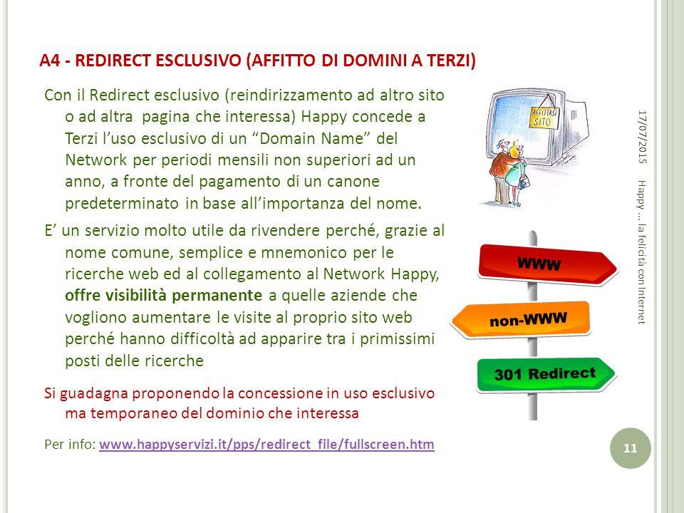 A4 - REDIRECT ESCLUSIVO (AFFITTO DI DOMINI A TERZI) Con il Redirect esclusivo (reindirizzamento ad altro sito o ad altra pagina che interessa) Happy c