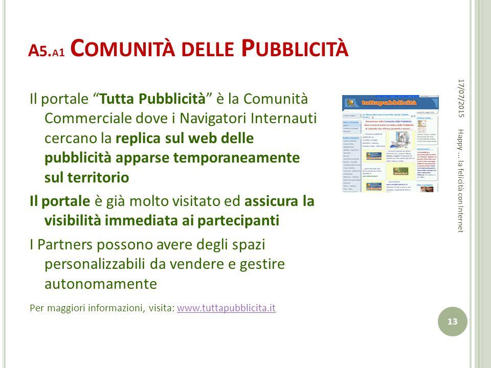 """A 5. A 1 C OMUNITÀ DELLE P UBBLICITÀ Il portale """"Tutta Pubblicità"""" è la Comunità Commerciale dove i Navigatori Internauti cercano la replica sul web d"""
