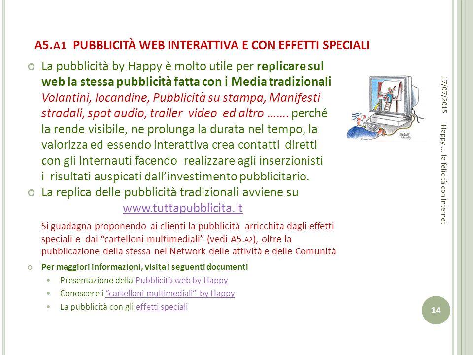 A5. A1 PUBBLICITÀ WEB INTERATTIVA E CON EFFETTI SPECIALI La pubblicità by Happy è molto utile per replicare sul web la stessa pubblicità fatta con i M