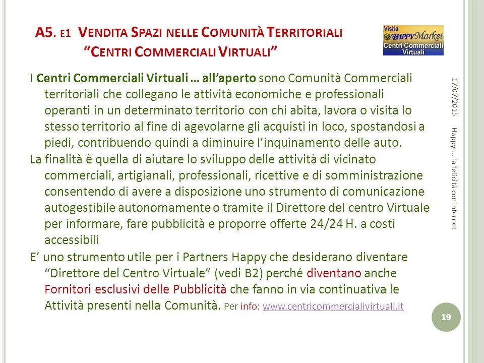 """A5. E 1 V ENDITA S PAZI NELLE C OMUNITÀ T ERRITORIALI """"C ENTRI C OMMERCIALI V IRTUALI """" I Centri Commerciali Virtuali … all'aperto sono Comunità Comme"""