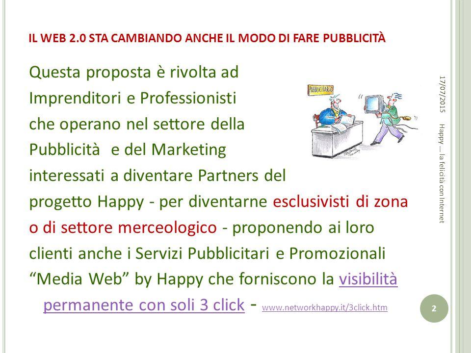 IL WEB 2.0 STA CAMBIANDO ANCHE IL MODO DI FARE PUBBLICITÀ 17/07/2015 2 Happy... la felicità con Internet Questa proposta è rivolta ad Imprenditori e P