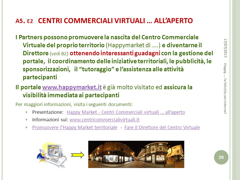 A5. E2 CENTRI COMMERCIALI VIRTUALI … ALL'APERTO I Partners possono promuovere la nascita del Centro Commerciale Virtuale del proprio territorio (Happy