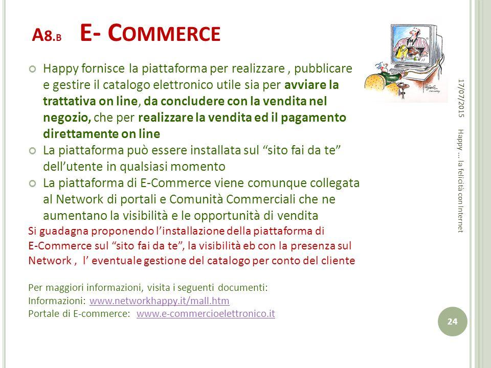 A 8. B E- C OMMERCE Happy fornisce la piattaforma per realizzare, pubblicare e gestire il catalogo elettronico utile sia per avviare la trattativa on