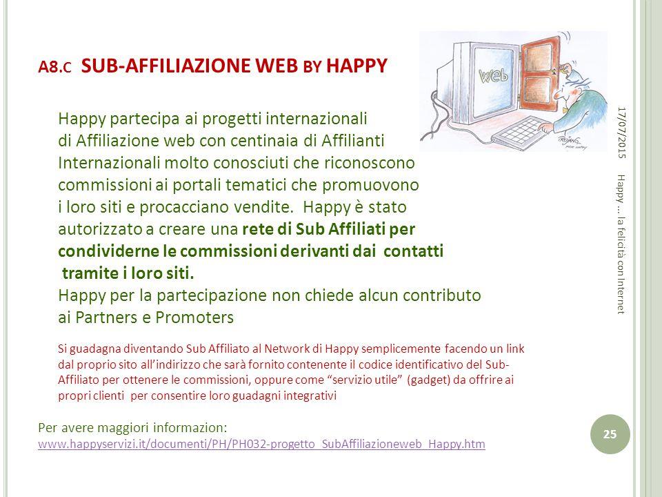 A8.C SUB-AFFILIAZIONE WEB BY HAPPY Happy partecipa ai progetti internazionali di Affiliazione web con centinaia di Affilianti Internazionali molto con