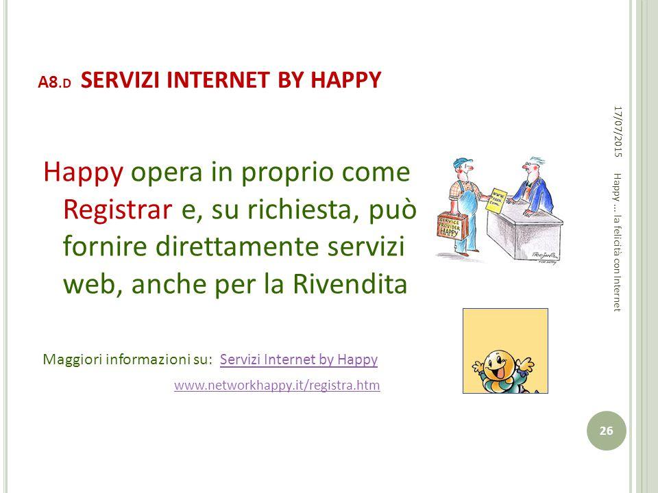 A8.D SERVIZI INTERNET BY HAPPY Happy opera in proprio come Registrar e, su richiesta, può fornire direttamente servizi web, anche per la Rivendita Mag