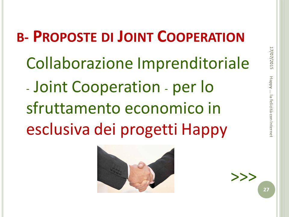 B - P ROPOSTE DI J OINT C OOPERATION Collaborazione Imprenditoriale - Joint Cooperation - per lo sfruttamento economico in esclusiva dei progetti Happ