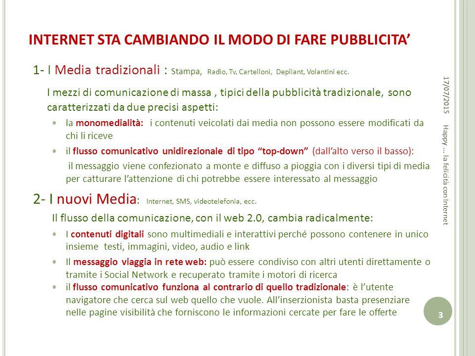 INTERNET STA CAMBIANDO IL MODO DI FARE PUBBLICITA' 1- I Media tradizionali : Stampa, Radio, Tv, Cartelloni, Depliant, Volantini ecc. I mezzi di comuni