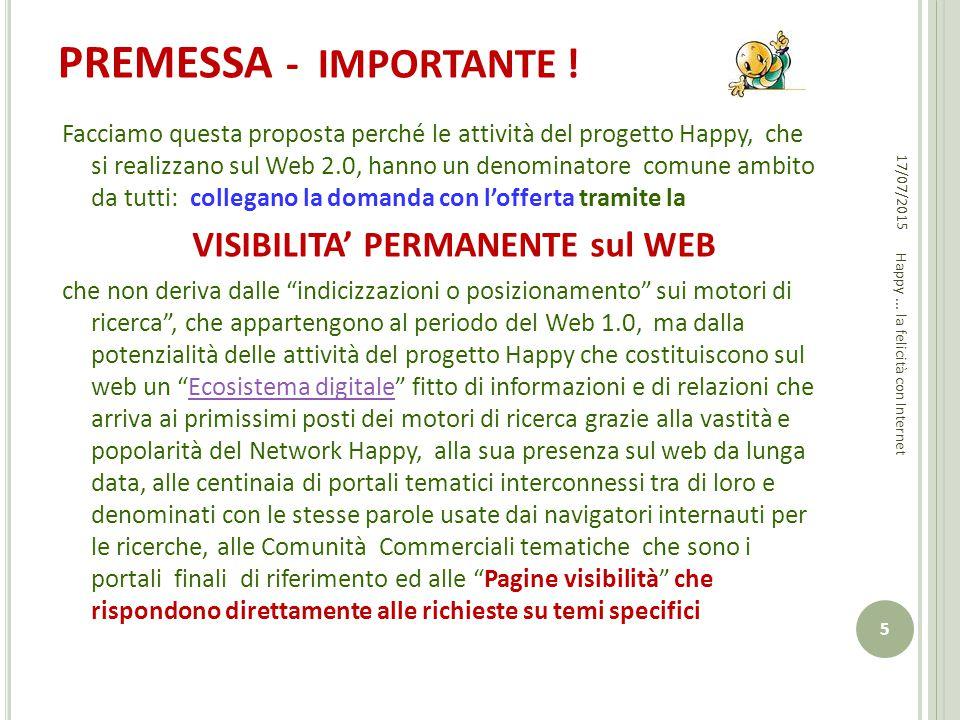 PREMESSA - IMPORTANTE ! Facciamo questa proposta perché le attività del progetto Happy, che si realizzano sul Web 2.0, hanno un denominatore comune am