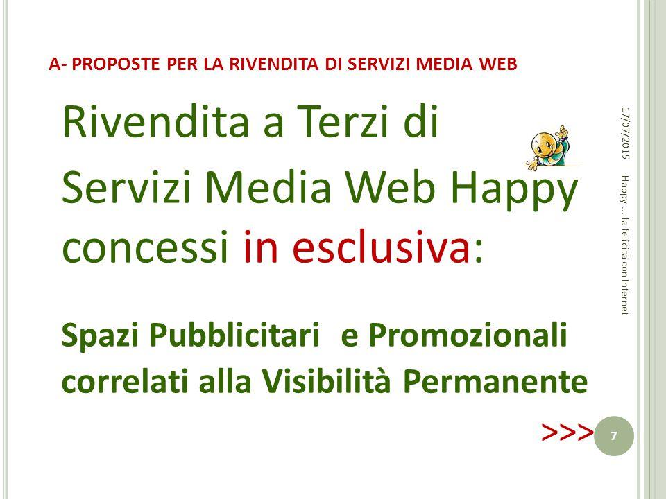 A- PROPOSTE PER LA RIVENDITA DI SERVIZI MEDIA WEB Rivendita a Terzi di Servizi Media Web Happy concessi in esclusiva: Spazi Pubblicitari e Promozional