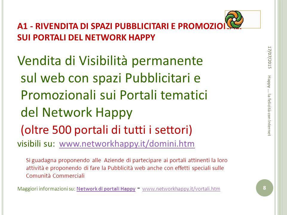 A1 - RIVENDITA DI SPAZI PUBBLICITARI E PROMOZIONALI SUI PORTALI DEL NETWORK HAPPY Vendita di Visibilità permanente sul web con spazi Pubblicitari e Pr