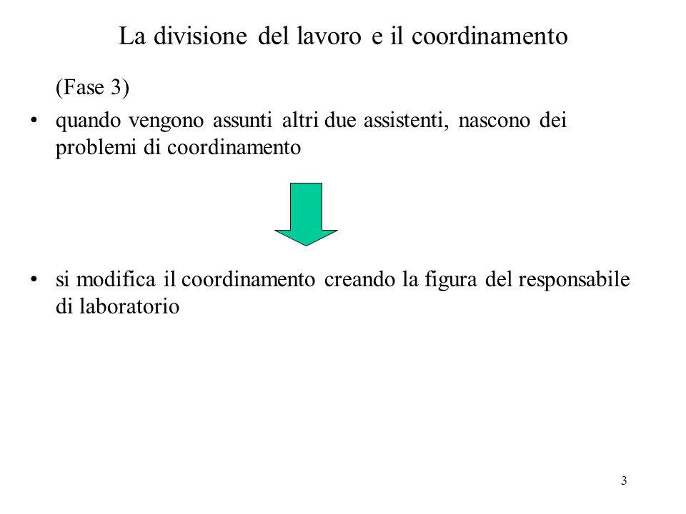 3 La divisione del lavoro e il coordinamento (Fase 3) quando vengono assunti altri due assistenti, nascono dei problemi di coordinamento si modifica il coordinamento creando la figura del responsabile di laboratorio