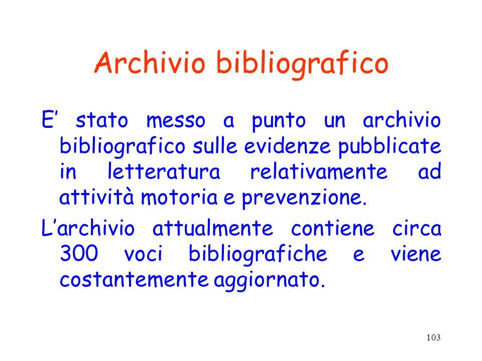 103 Archivio bibliografico E' stato messo a punto un archivio bibliografico sulle evidenze pubblicate in letteratura relativamente ad attività motoria e prevenzione.