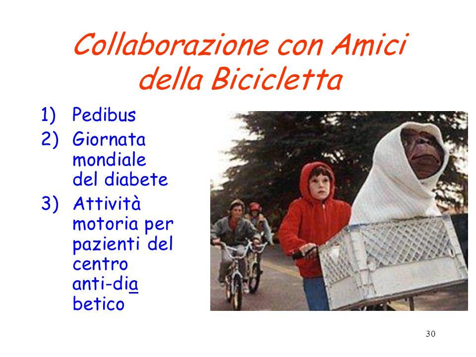 30 Collaborazione con Amici della Bicicletta 1)Pedibus 2)Giornata mondiale del diabete 3)Attività motoria per pazienti del centro anti-dia betico