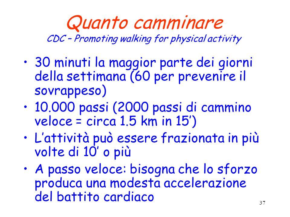 37 Quanto camminare CDC – Promoting walking for physical activity 30 minuti la maggior parte dei giorni della settimana (60 per prevenire il sovrappeso) 10.000 passi (2000 passi di cammino veloce = circa 1.5 km in 15') L'attività può essere frazionata in più volte di 10' o più A passo veloce: bisogna che lo sforzo produca una modesta accelerazione del battito cardiaco