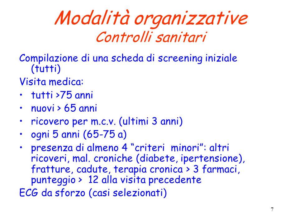 7 Modalità organizzative Controlli sanitari Compilazione di una scheda di screening iniziale (tutti) Visita medica: tutti >75 anni nuovi > 65 anni ricovero per m.c.v.