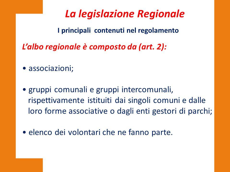 L'albo regionale è composto da (art. 2): associazioni; gruppi comunali e gruppi intercomunali, rispettivamente istituiti dai singoli comuni e dalle lo