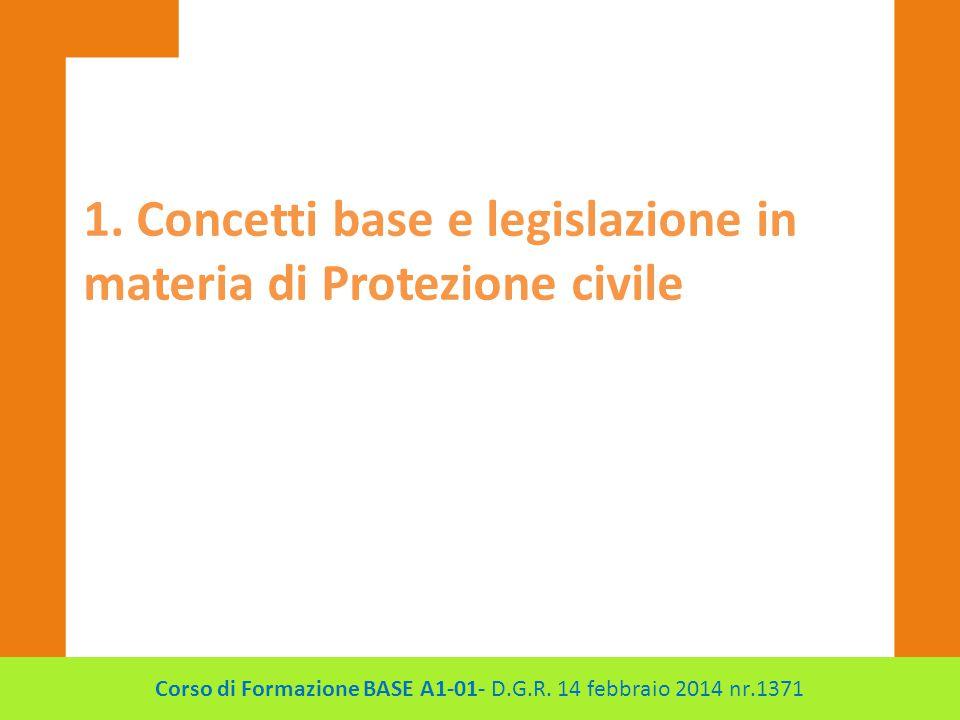 1. Concetti base e legislazione in materia di Protezione civile Corso di Formazione BASE A1-01- D.G.R. 14 febbraio 2014 nr.1371