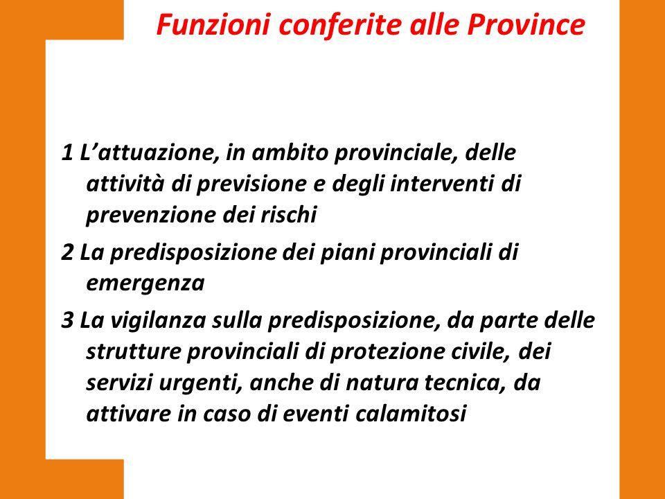 1 L'attuazione, in ambito provinciale, delle attività di previsione e degli interventi di prevenzione dei rischi 2 La predisposizione dei piani provin