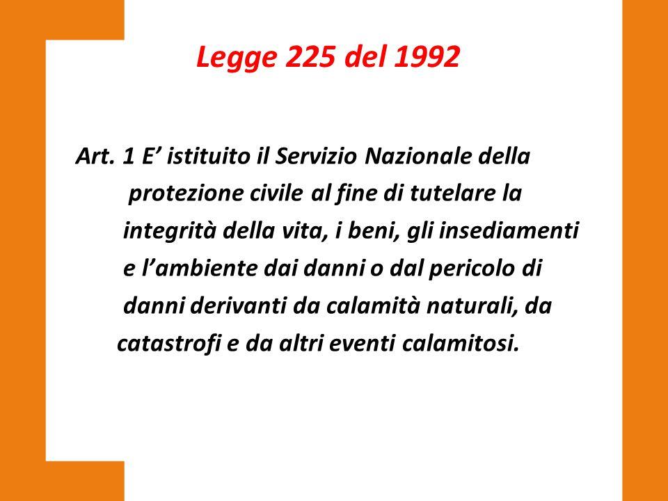Art. 1 E' istituito il Servizio Nazionale della protezione civile al fine di tutelare la integrità della vita, i beni, gli insediamenti e l'ambiente d