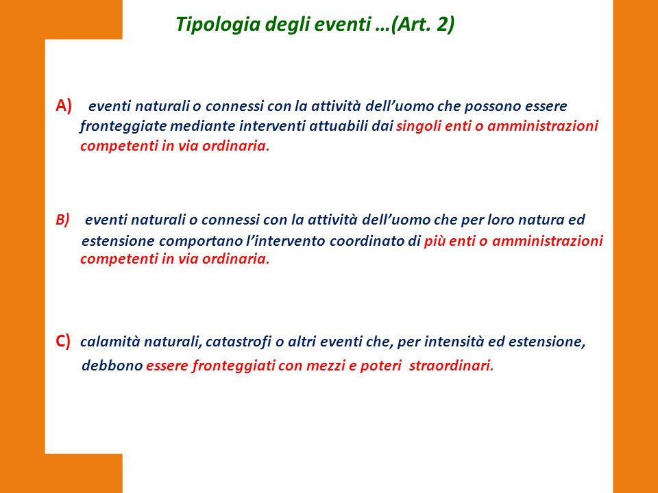 A) eventi naturali o connessi con la attività dell'uomo che possono essere fronteggiate mediante interventi attuabili dai singoli enti o amministrazio