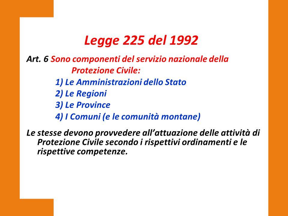 Art. 6 Sono componenti del servizio nazionale della Protezione Civile: 1) Le Amministrazioni dello Stato 2) Le Regioni 3) Le Province 4) I Comuni (e l