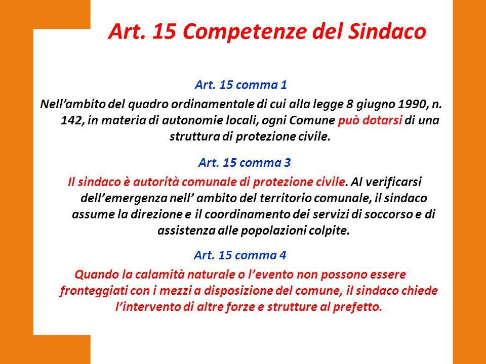 Art. 15 comma 1 Nell'ambito del quadro ordinamentale di cui alla legge 8 giugno 1990, n. 142, in materia di autonomie locali, ogni Comune può dotarsi