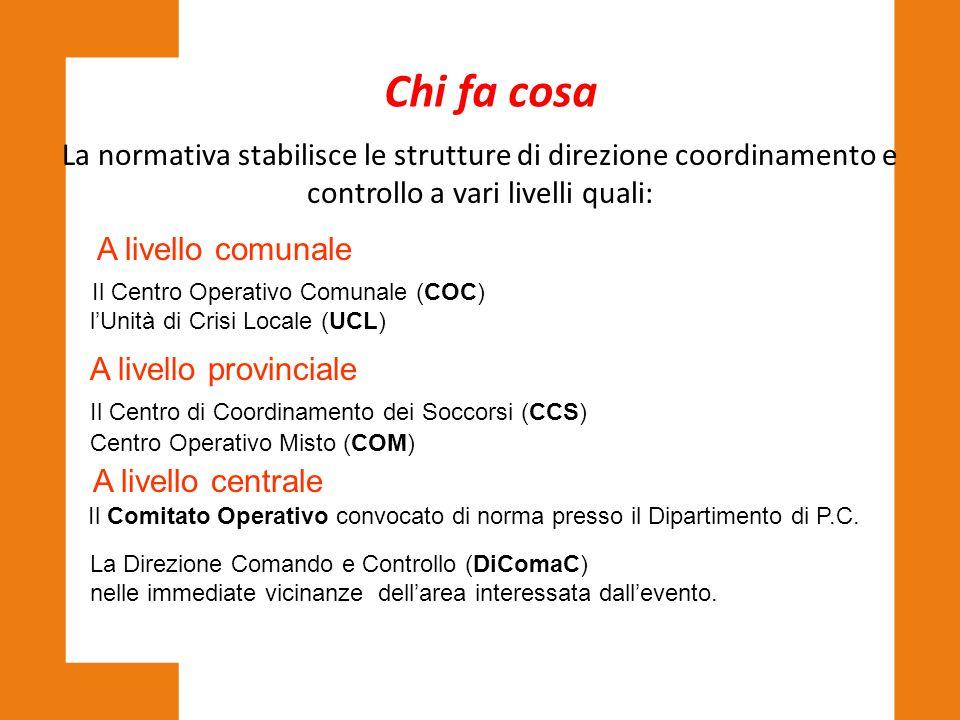 La normativa stabilisce le strutture di direzione coordinamento e controllo a vari livelli quali: A livello comunale Il Centro Operativo Comunale (COC