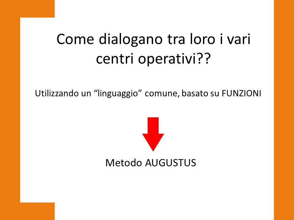 """Come dialogano tra loro i vari centri operativi?? Utilizzando un """"linguaggio"""" comune, basato su FUNZIONI Metodo AUGUSTUS"""