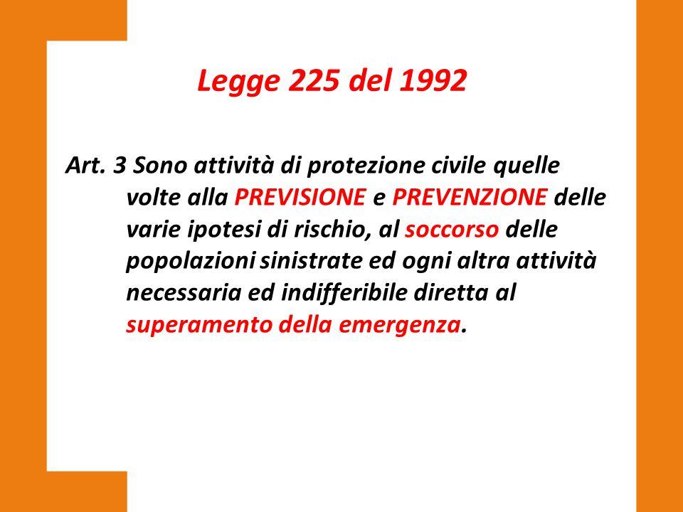 Art. 3 Sono attività di protezione civile quelle volte alla PREVISIONE e PREVENZIONE delle varie ipotesi di rischio, al soccorso delle popolazioni sin