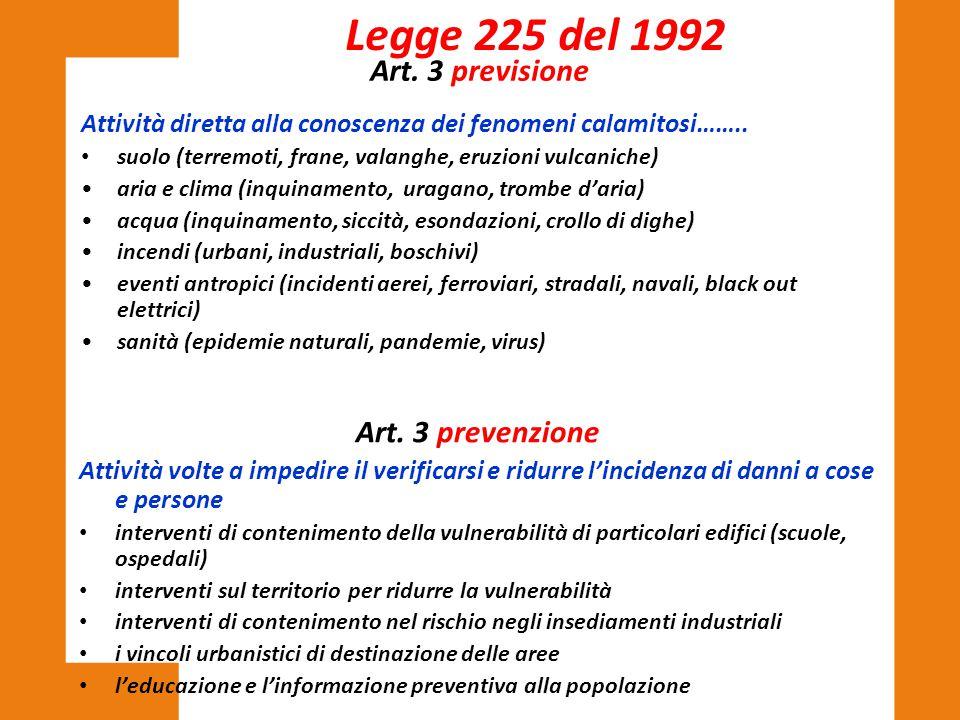 Art. 3 previsione Attività diretta alla conoscenza dei fenomeni calamitosi…….. suolo (terremoti, frane, valanghe, eruzioni vulcaniche) aria e clima (i
