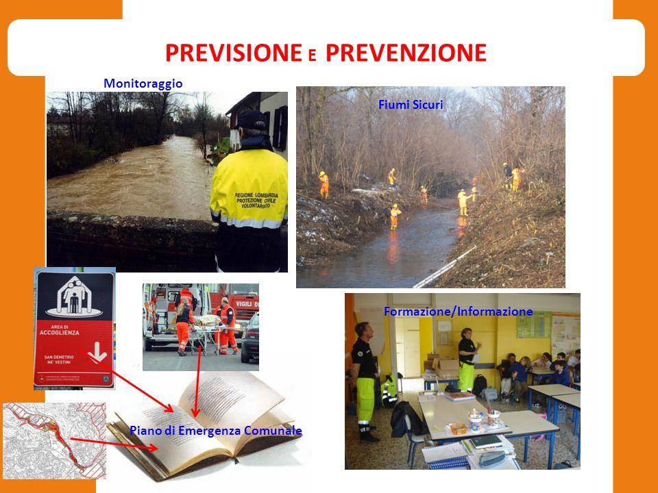 PREVISIONE E PREVENZIONE Monitoraggio Fiumi Sicuri Piano di Emergenza Comunale Formazione/Informazione