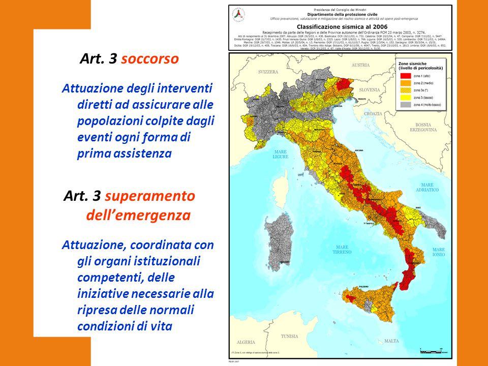 Art. 3 soccorso Attuazione degli interventi diretti ad assicurare alle popolazioni colpite dagli eventi ogni forma di prima assistenza Art. 3 superame