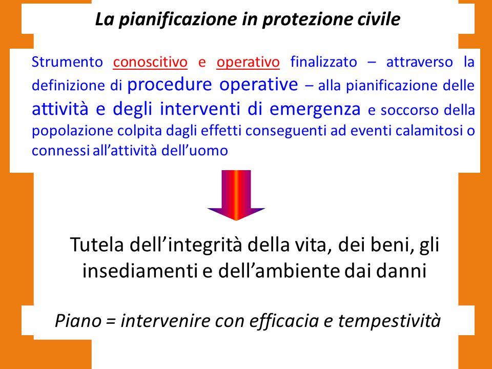 La pianificazione in protezione civile Strumento conoscitivo e operativo finalizzato – attraverso la definizione di procedure operative – alla pianifi