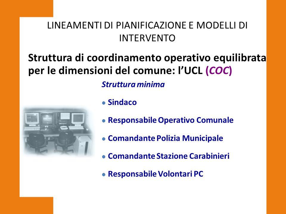 LINEAMENTI DI PIANIFICAZIONE E MODELLI DI INTERVENTO Struttura di coordinamento operativo equilibrata per le dimensioni del comune: l'UCL (COC) Strutt