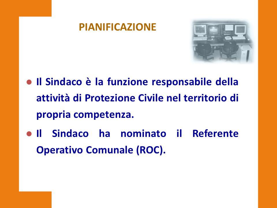 PIANIFICAZIONE l Il Sindaco è la funzione responsabile della attività di Protezione Civile nel territorio di propria competenza. l Il Sindaco ha nomin