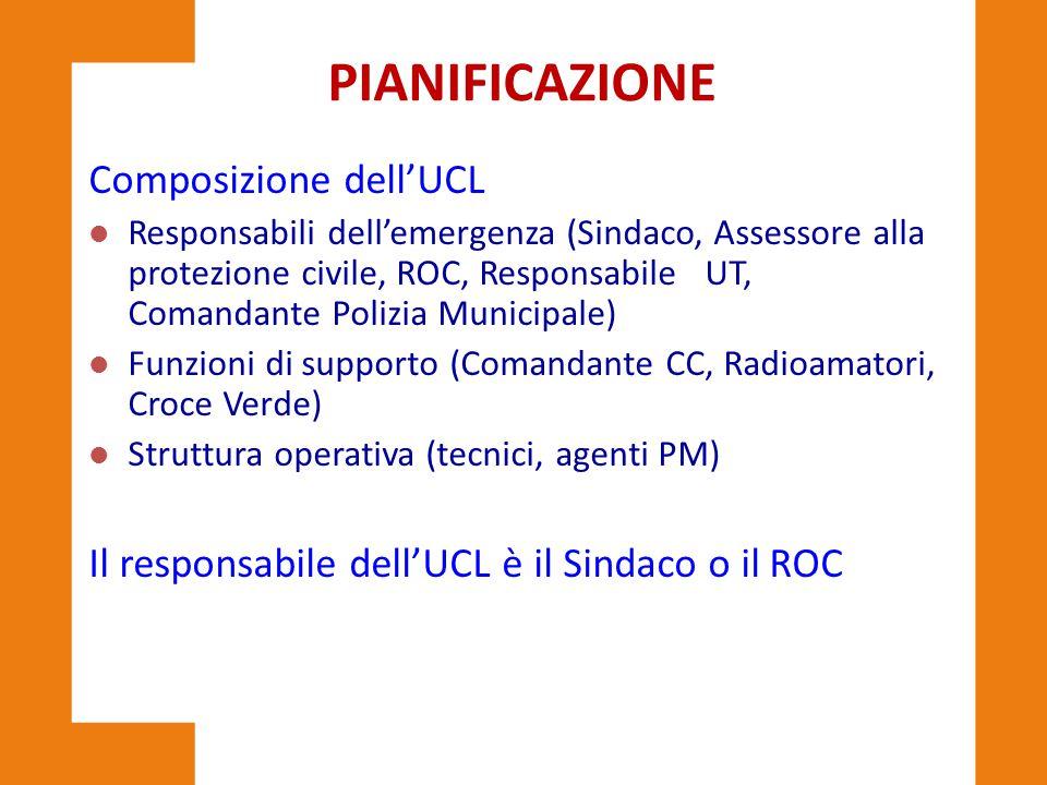 PIANIFICAZIONE Composizione dell'UCL l Responsabili dell'emergenza (Sindaco, Assessore alla protezione civile, ROC, Responsabile UT, Comandante Polizi