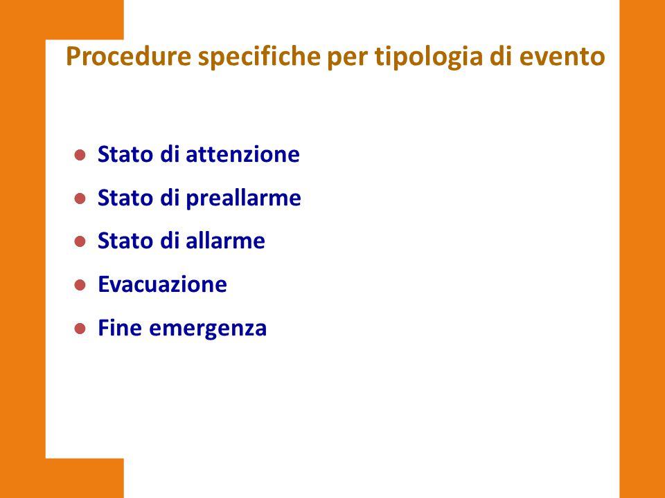 Procedure specifiche per tipologia di evento l Stato di attenzione l Stato di preallarme l Stato di allarme l Evacuazione l Fine emergenza